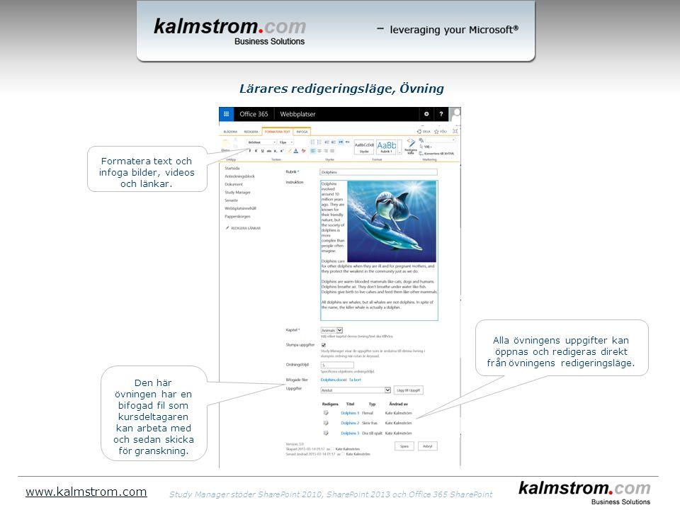 Lärares redigeringsläge, Övning www.kalmstrom.com Alla övningens uppgifter kan öppnas och redigeras direkt från övningens redigeringsläge.