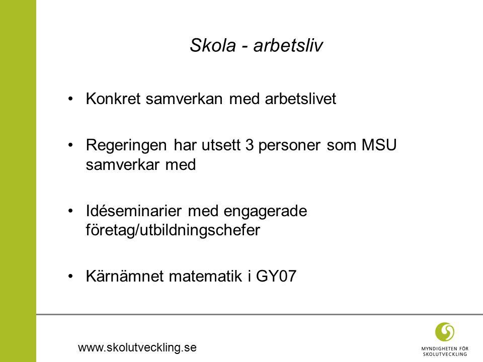 www.skolutveckling.se Skola - arbetsliv Konkret samverkan med arbetslivet Regeringen har utsett 3 personer som MSU samverkar med Idéseminarier med engagerade företag/utbildningschefer Kärnämnet matematik i GY07