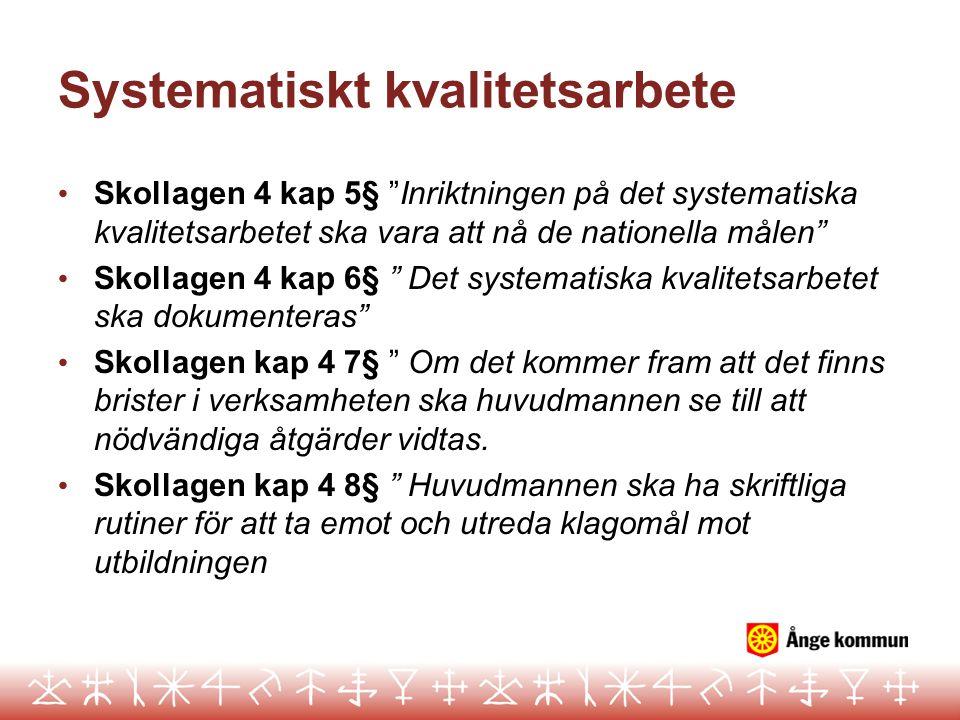"""Systematiskt kvalitetsarbete Skollagen 4 kap 5§ """"Inriktningen på det systematiska kvalitetsarbetet ska vara att nå de nationella målen"""" Skollagen 4 ka"""