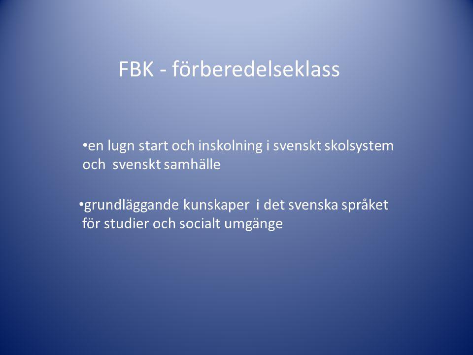 en lugn start och inskolning i svenskt skolsystem och svenskt samhälle grundläggande kunskaper i det svenska språket för studier och socialt umgänge FBK - förberedelseklass