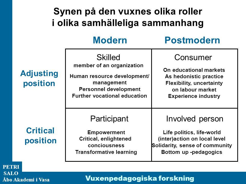 ÅA/Ped.inst. PETRI SALO Åbo Akademi i Vasa Synen på den vuxnes olika roller i olika samhälleliga sammanhang Adjusting position Critical position Moder