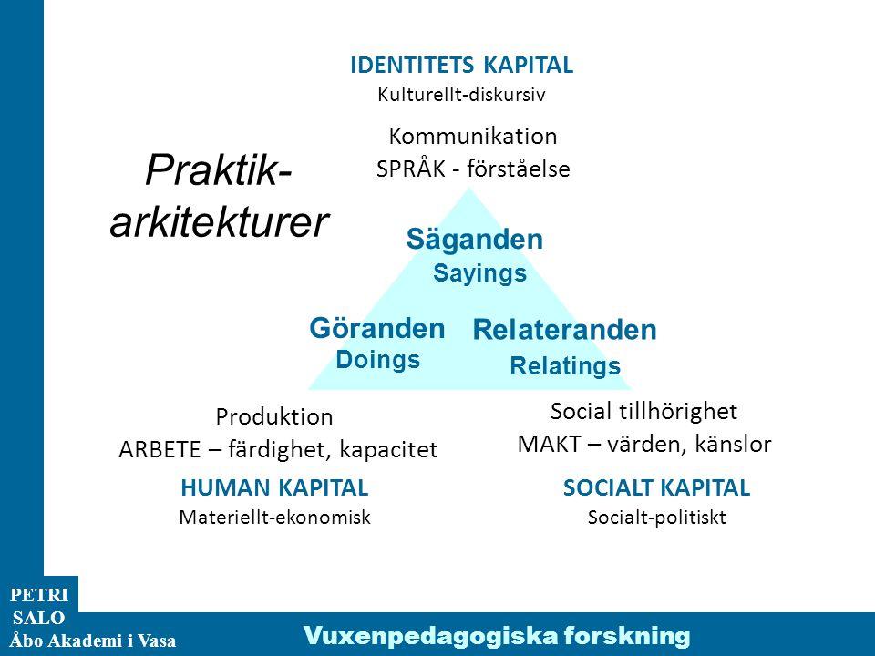 ÅA/Ped.inst. PETRI SALO Åbo Akademi i Vasa Vuxenpedagogiska forskning Säganden Sayings Produktion ARBETE – färdighet, kapacitet Social tillhörighet MA