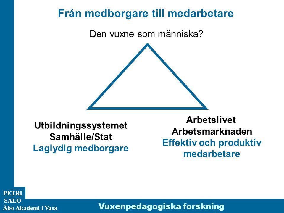 ÅA/Ped.inst. PETRI SALO Åbo Akademi i Vasa Från medborgare till medarbetare Arbetslivet Arbetsmarknaden Effektiv och produktiv medarbetare Vuxenpedago