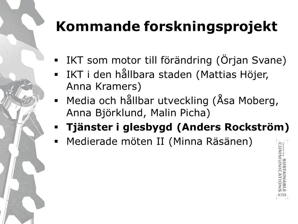 Kommande forskningsprojekt  IKT som motor till förändring (Örjan Svane)  IKT i den hållbara staden (Mattias Höjer, Anna Kramers)  Media och hållbar utveckling (Åsa Moberg, Anna Björklund, Malin Picha)  Tjänster i glesbygd (Anders Rockström)  Medierade möten II (Minna Räsänen)