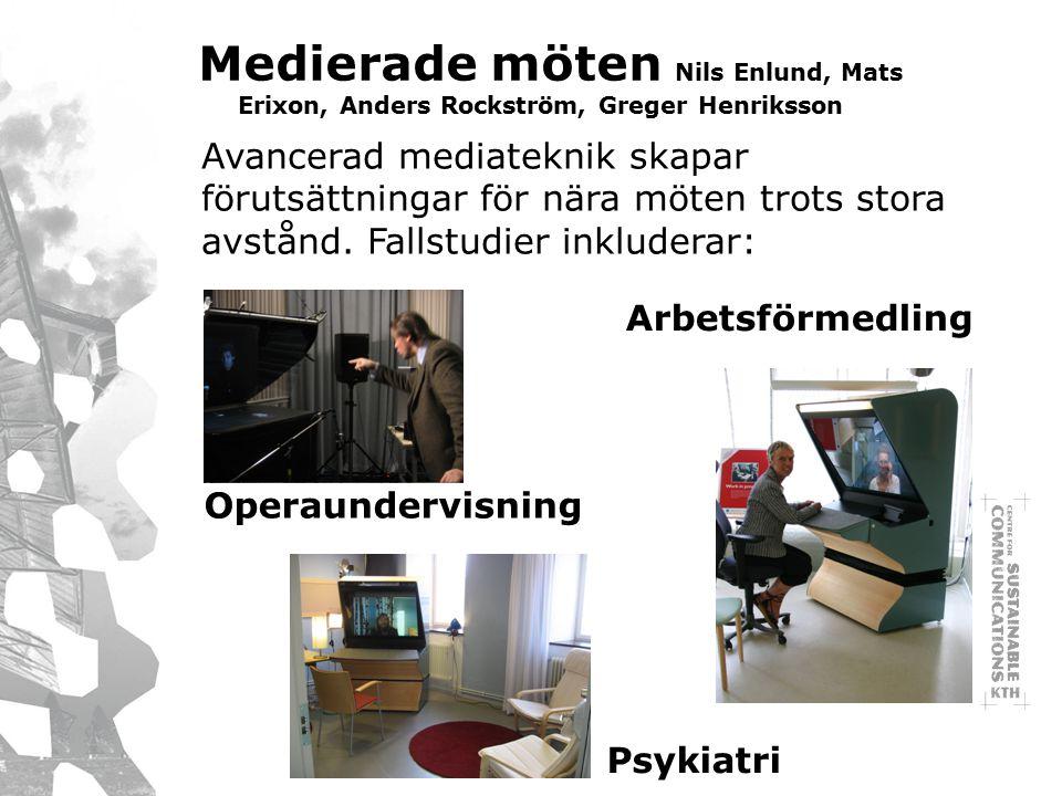 Medierade möten Nils Enlund, Mats Erixon, Anders Rockström, Greger Henriksson Avancerad mediateknik skapar förutsättningar för nära möten trots stora avstånd.