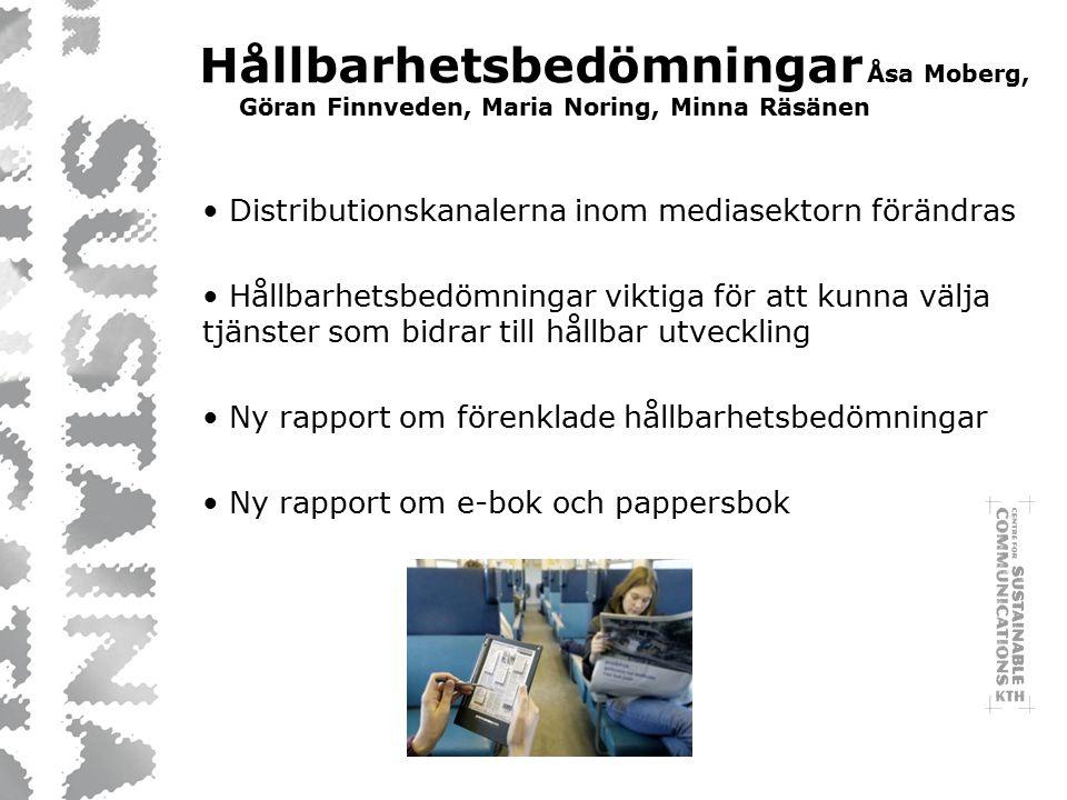 Hållbarhetsbedömningar Åsa Moberg, Göran Finnveden, Maria Noring, Minna Räsänen Distributionskanalerna inom mediasektorn förändras Hållbarhetsbedömningar viktiga för att kunna välja tjänster som bidrar till hållbar utveckling Ny rapport om förenklade hållbarhetsbedömningar Ny rapport om e-bok och pappersbok