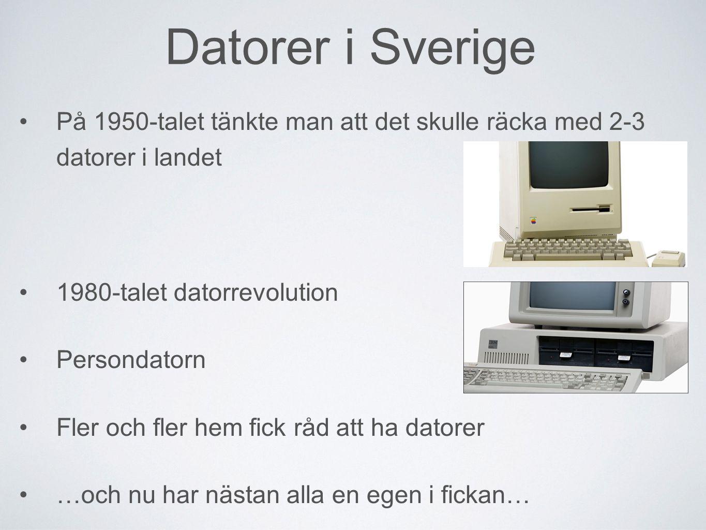 Datorer i Sverige På 1950-talet tänkte man att det skulle räcka med 2-3 datorer i landet 1980-talet datorrevolution Persondatorn Fler och fler hem fick råd att ha datorer …och nu har nästan alla en egen i fickan…