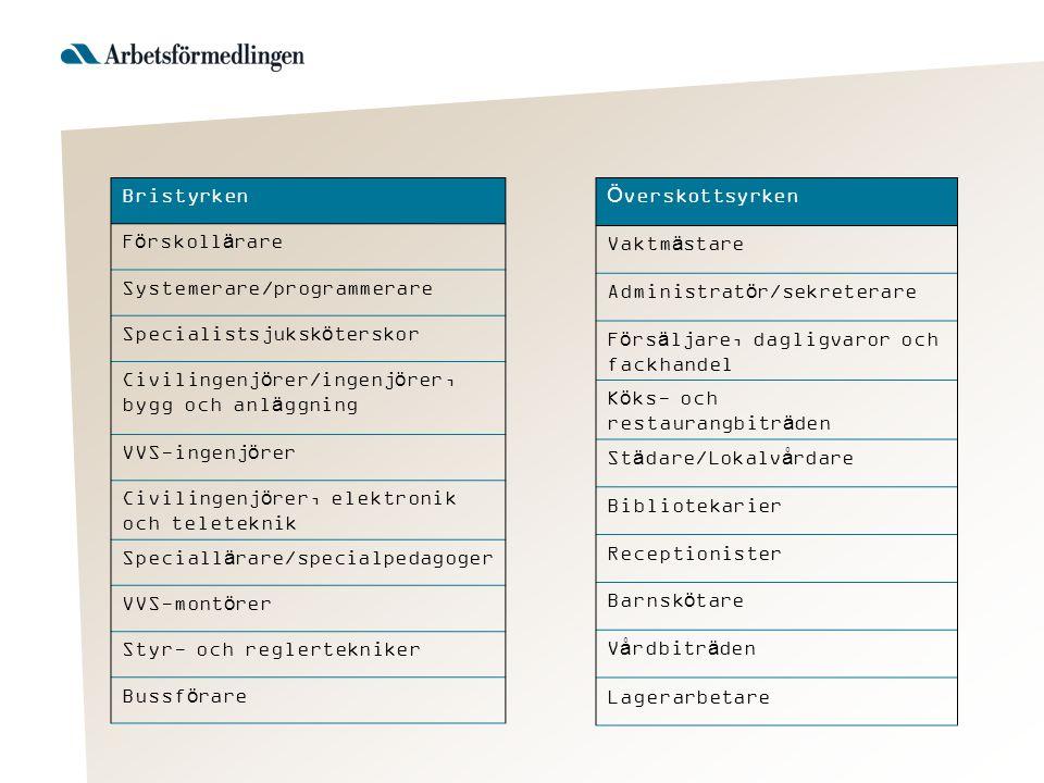 Bristyrken Förskollärare Systemerare/programmerare Specialistsjuksköterskor Civilingenjörer/ingenjörer, bygg och anläggning VVS-ingenjörer Civilingenj