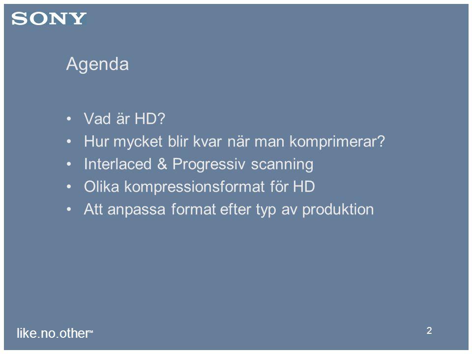 like.no.other ™ 2 Agenda Vad är HD. Hur mycket blir kvar när man komprimerar.