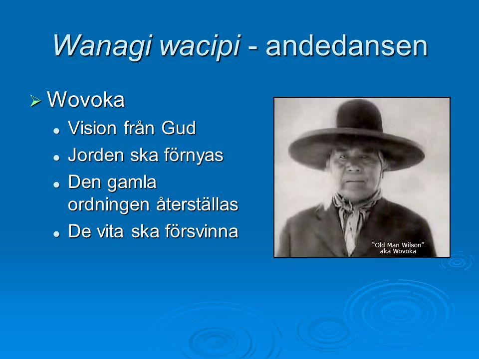 Wanagi wacipi - andedansen  Wovoka Vision från Gud Vision från Gud Jorden ska förnyas Jorden ska förnyas Den gamla ordningen återställas Den gamla or