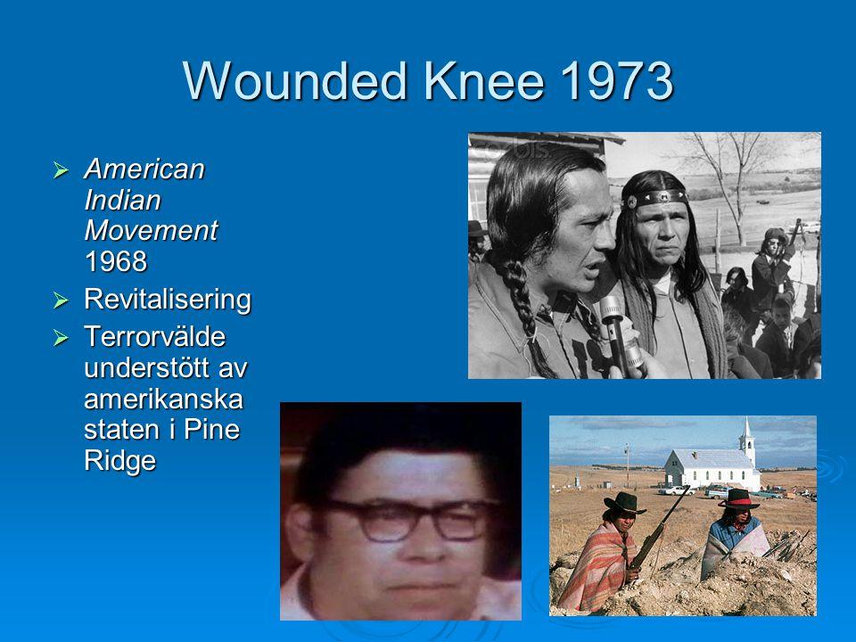 Wounded Knee 1973  American Indian Movement 1968  Revitalisering  Terrorvälde understött av amerikanska staten i Pine Ridge