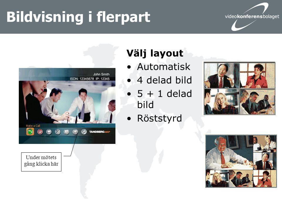 Bildvisning i flerpart Välj layout Automatisk 4 delad bild 5 + 1 delad bild Röststyrd Under mötets gång klicka här