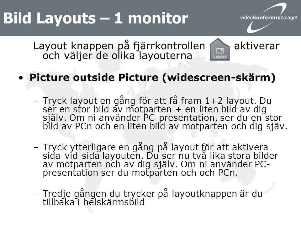 Bild Layouts – 2 monitorer Layout knappen på fjärrkontrollen aktiverar och väljer de olika layouterna 2 monitorer –Tryck på layout en gång för att aktivera PIP, Picture in Picture –Tryck på layout tre gånger till för at flytta runt PIP bilden i alla hörn av bilden –Fjärde gången du trycker på layout knappen försvinner PIP bilden