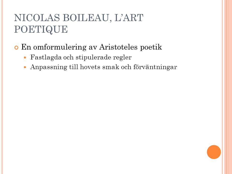 NICOLAS BOILEAU, L'ART POETIQUE En omformulering av Aristoteles poetik Fastlagda och stipulerade regler Anpassning till hovets smak och förväntningar