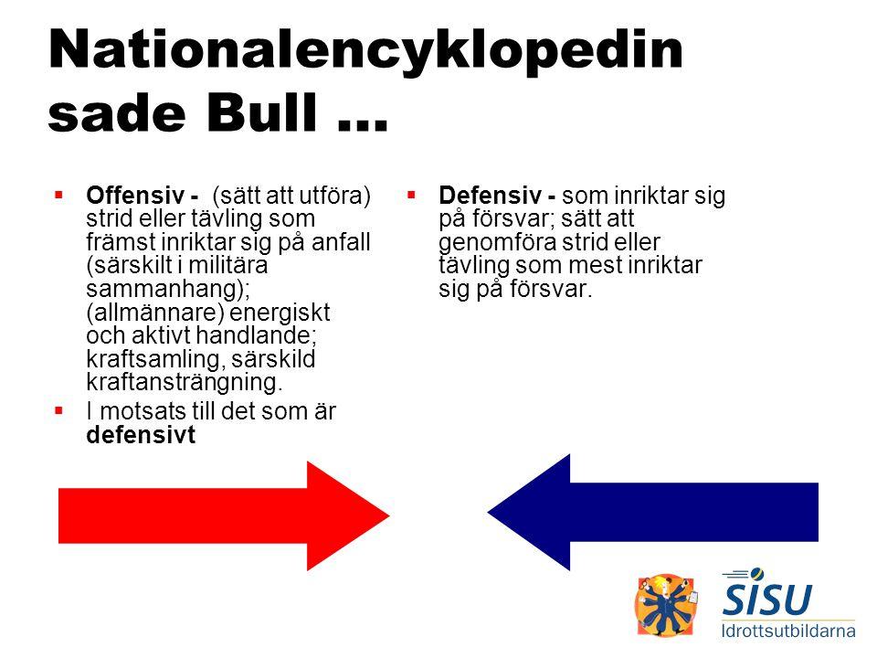 Nationalencyklopedin sade Bull...  Offensiv - (sätt att utföra) strid eller tävling som främst inriktar sig på anfall (särskilt i militära sammanhang
