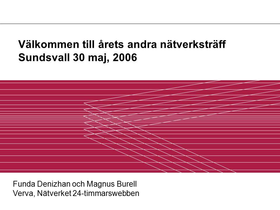 Välkommen till årets andra nätverksträff Sundsvall 30 maj, 2006 Funda Denizhan och Magnus Burell Verva, Nätverket 24-timmarswebben