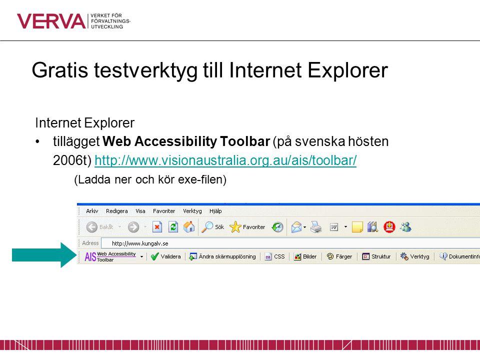 Gratis testverktyg till Internet Explorer Internet Explorer tillägget Web Accessibility Toolbar (på svenska hösten 2006t) http://www.visionaustralia.org.au/ais/toolbar/http://www.visionaustralia.org.au/ais/toolbar/ (Ladda ner och kör exe-filen)