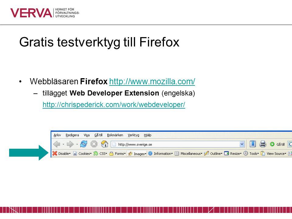 Gratis testverktyg till Firefox Webbläsaren Firefox http://www.mozilla.com/http://www.mozilla.com/ –tillägget Web Developer Extension (engelska) http://chrispederick.com/work/webdeveloper/ http://chrispederick.com/work/webdeveloper/