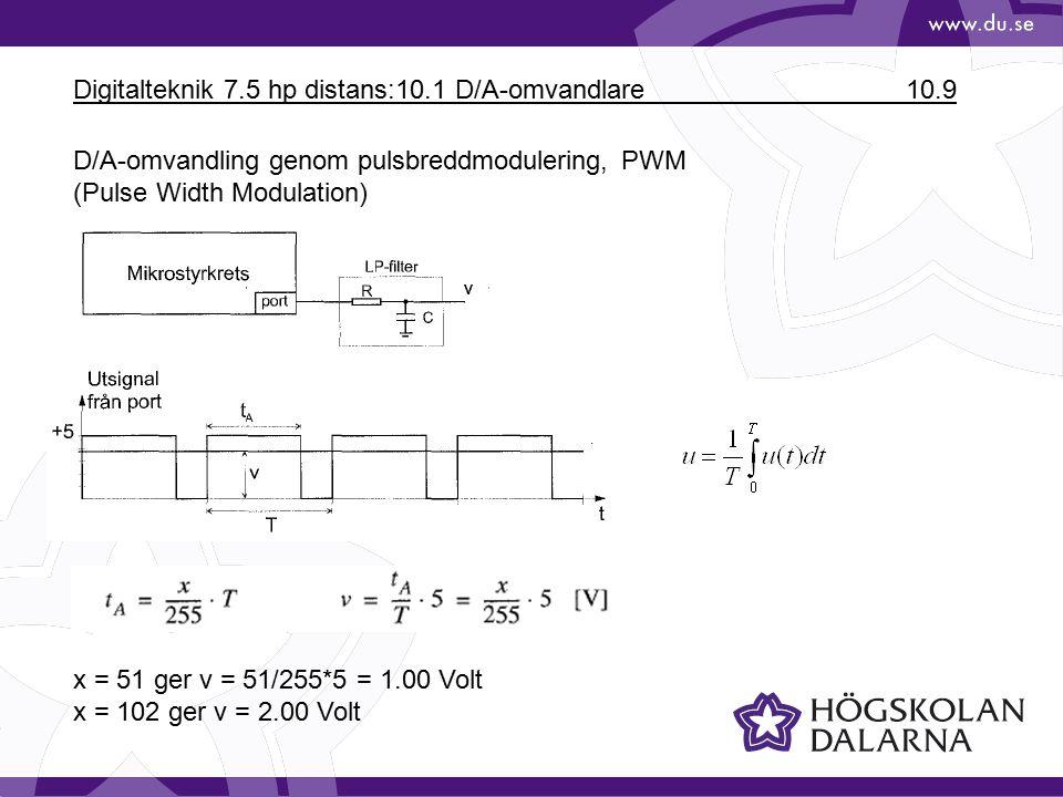 Digitalteknik 7.5 hp distans:10.1 D/A-omvandlare 10.9 D/A-omvandling genom pulsbreddmodulering, PWM (Pulse Width Modulation) x = 51 ger v = 51/255*5 =