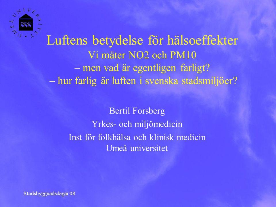 Stadsbyggnadsdagar 08 Luftens betydelse för hälsoeffekter Vi mäter NO2 och PM10 – men vad är egentligen farligt? – hur farlig är luften i svenska stad