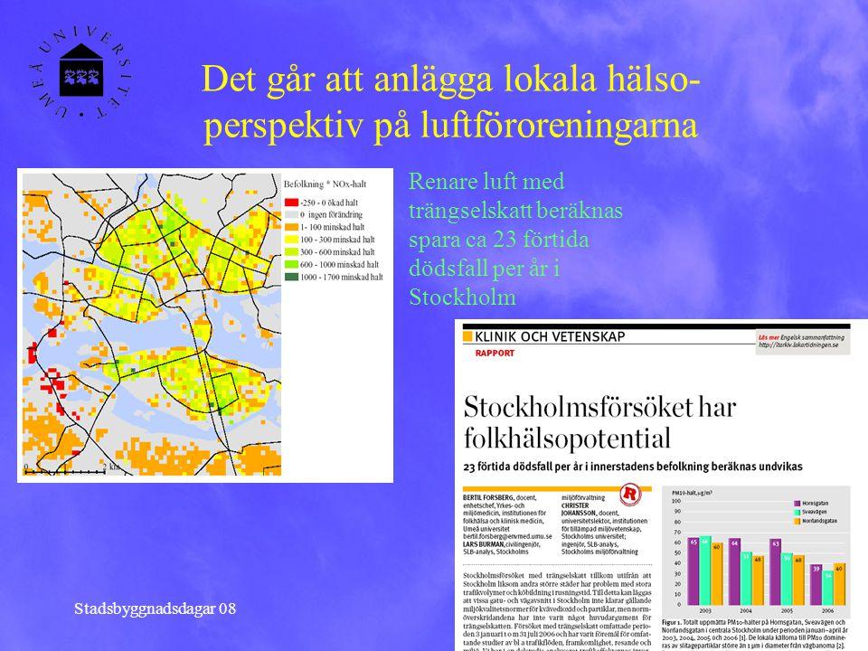 Stadsbyggnadsdagar 08 Det går att anlägga lokala hälso- perspektiv på luftföroreningarna Renare luft med trängselskatt beräknas spara ca 23 förtida dö
