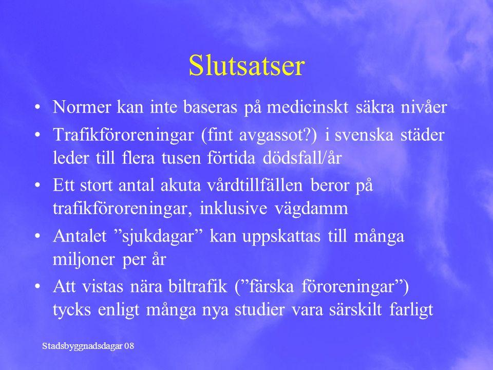 Stadsbyggnadsdagar 08 Slutsatser Normer kan inte baseras på medicinskt säkra nivåer Trafikföroreningar (fint avgassot?) i svenska städer leder till fl