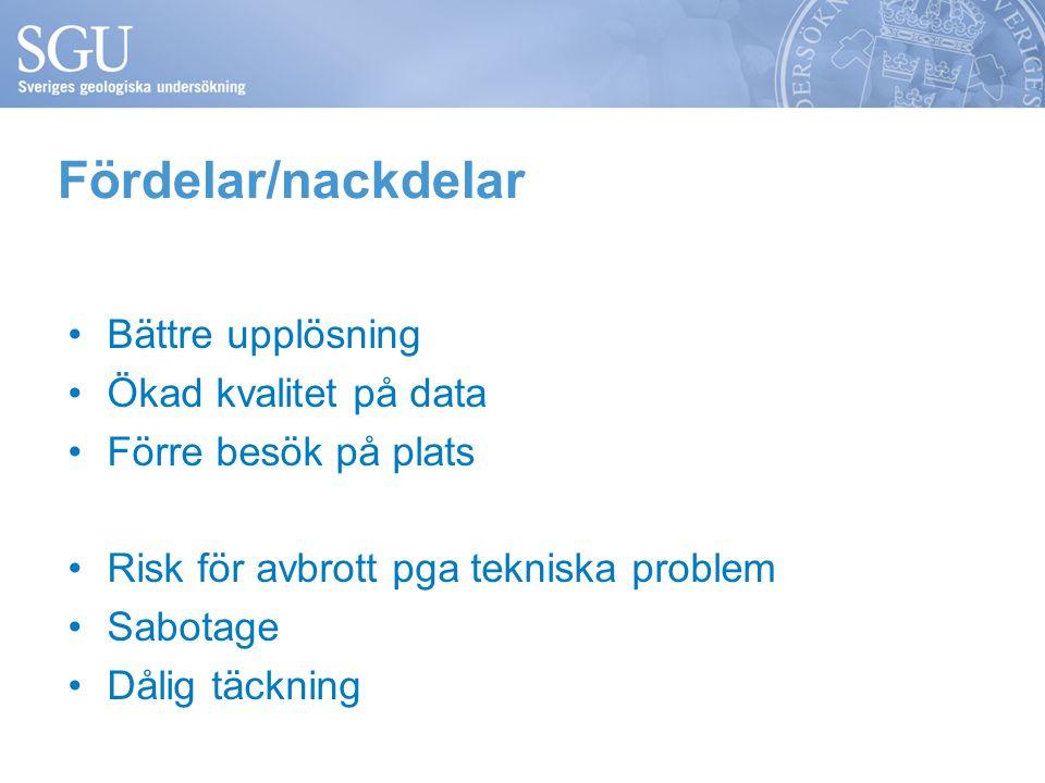 Fördelar/nackdelar Bättre upplösning Ökad kvalitet på data Förre besök på plats Risk för avbrott pga tekniska problem Sabotage Dålig täckning