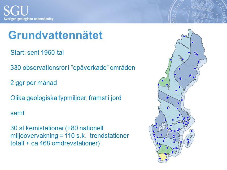 Grundvattennätet Start: sent 1960-tal 330 observationsrör i opåverkade områden 2 ggr per månad Olika geologiska typmiljöer, främst i jord samt 30 st kemistationer (+80 nationell miljöövervakning = 110 s.k.