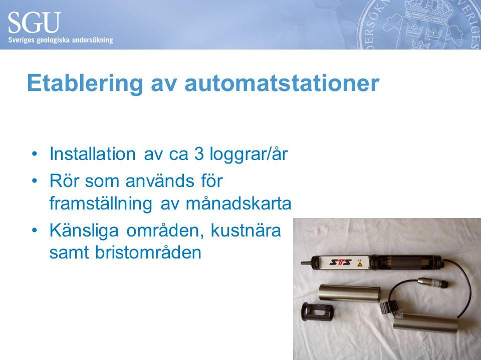 Etablering av automatstationer Installation av ca 3 loggrar/år Rör som används för framställning av månadskarta Känsliga områden, kustnära samt bristområden