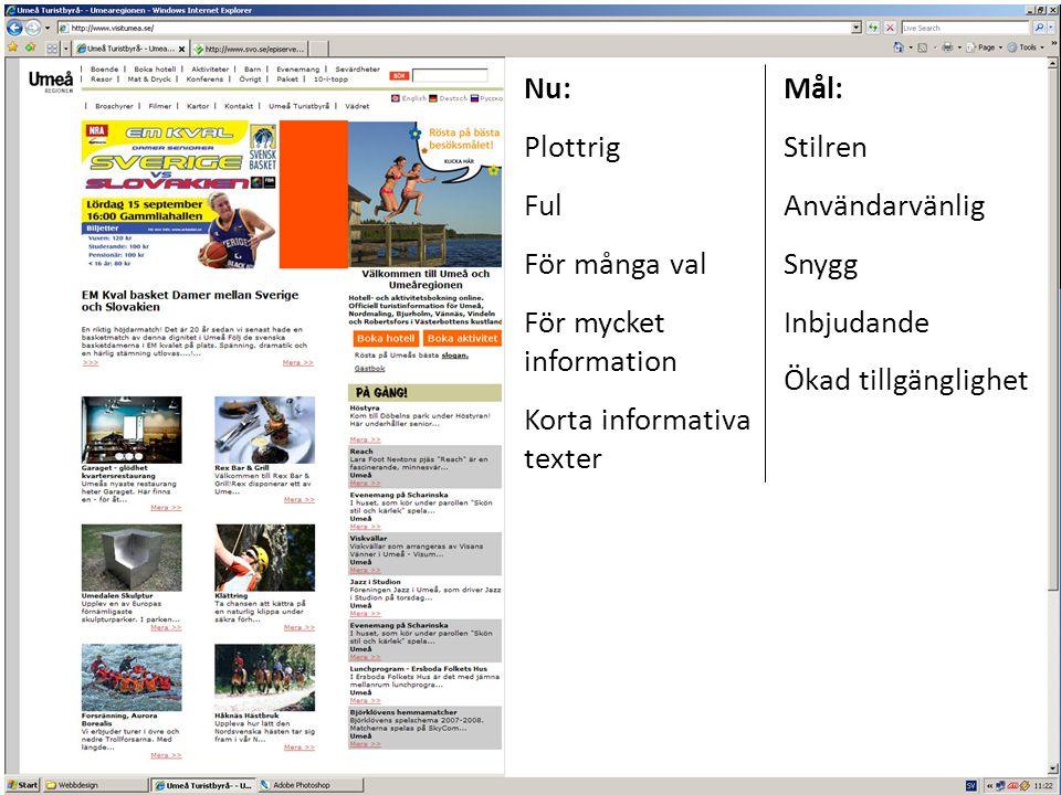 Användarvänlighet Nu + Click-and-read + Utskriftsvänlig + Sökfunktion + Direkta länkar - För många menyalternativ - Svårt att få överblick Mål Färre val, dropdown-menyer Sitemap Nytt symbolsystem