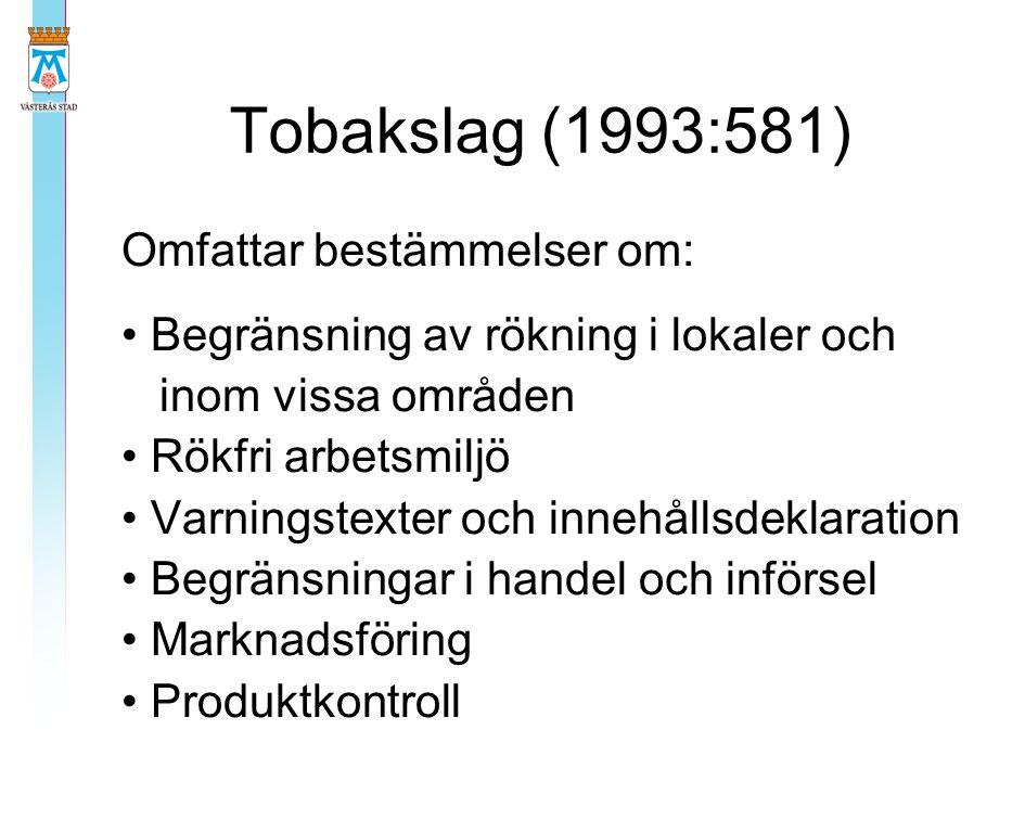 Tobakslag (1993:581) Omfattar bestämmelser om: Begränsning av rökning i lokaler och inom vissa områden Rökfri arbetsmiljö Varningstexter och innehålls
