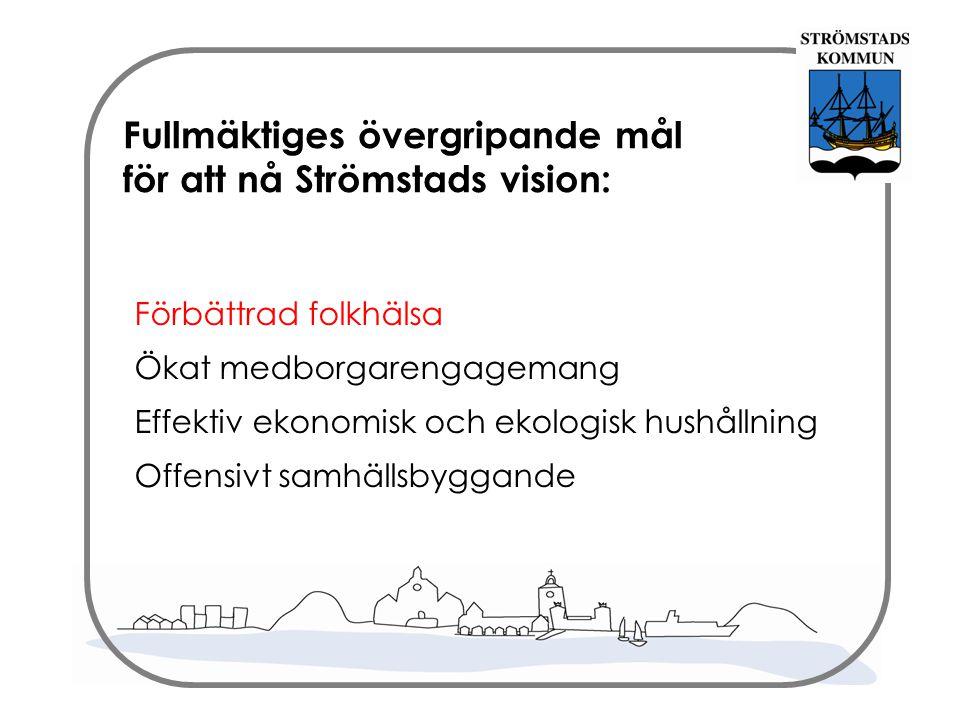 Fullmäktiges övergripande mål för att nå Strömstads vision: Förbättrad folkhälsa Ökat medborgarengagemang Effektiv ekonomisk och ekologisk hushållning Offensivt samhällsbyggande