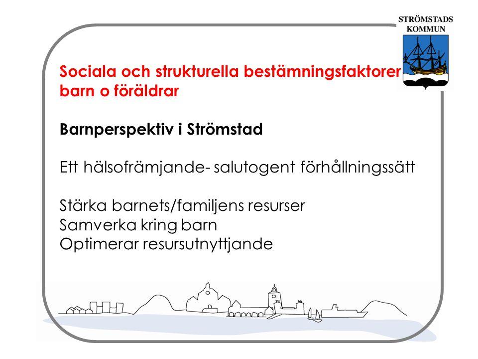 Sociala och strukturella bestämningsfaktorer barn o föräldrar Barnperspektiv i Strömstad Ett hälsofrämjande- salutogent förhållningssätt Stärka barnets/familjens resurser Samverka kring barn Optimerar resursutnyttjande
