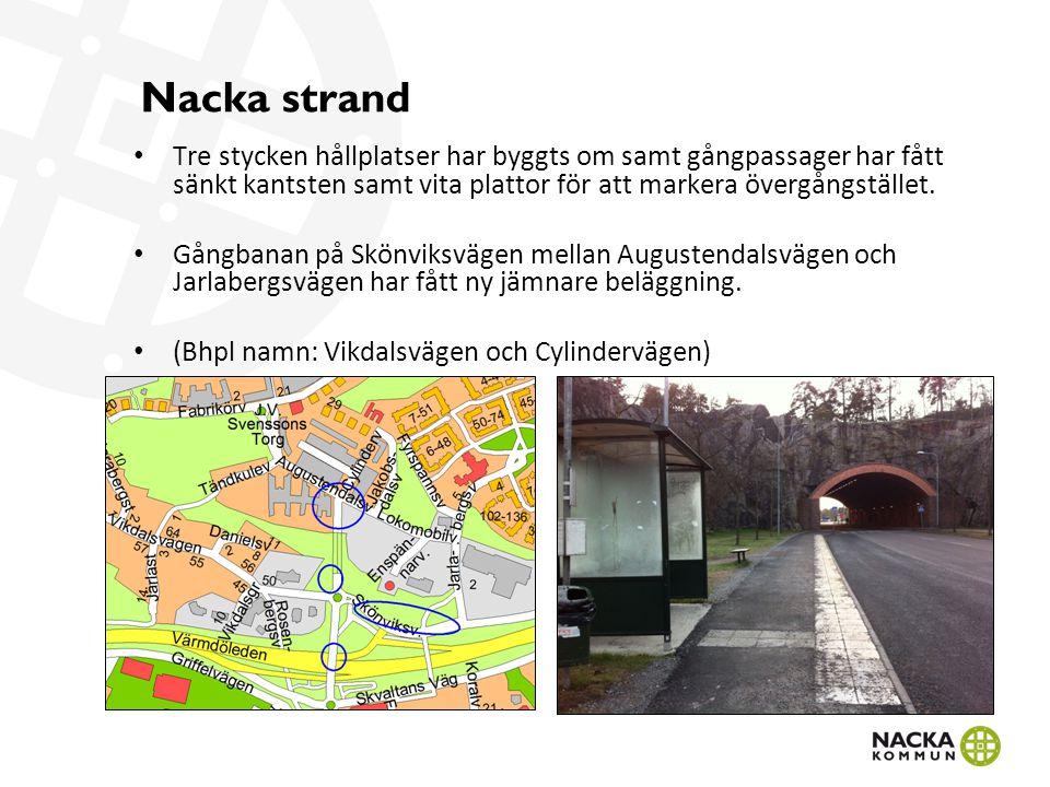 Nacka Strand Exempel på tillgänglighetsanpassning av gångpassager i Nacka Strand.