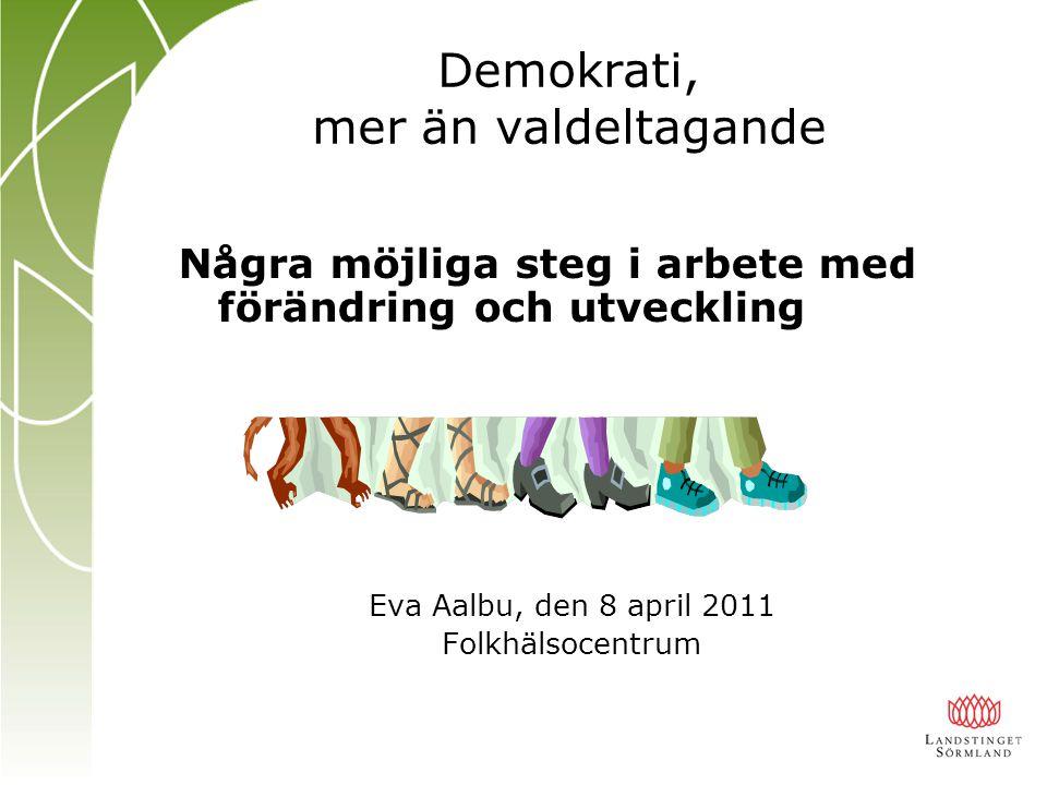 Några möjliga steg i arbete med förändring och utveckling Eva Aalbu, den 8 april 2011 Folkhälsocentrum Demokrati, mer än valdeltagande