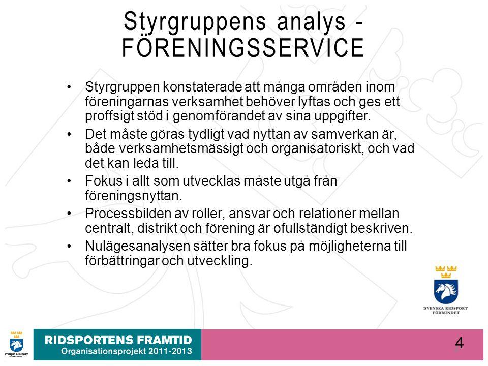 4 Styrgruppens analys - FÖRENINGSSERVICE Styrgruppen konstaterade att många områden inom föreningarnas verksamhet behöver lyftas och ges ett proffsigt