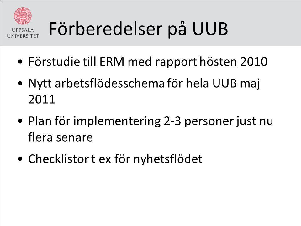 Förberedelser på UUB Förstudie till ERM med rapport hösten 2010 Nytt arbetsflödesschema för hela UUB maj 2011 Plan för implementering 2-3 personer jus