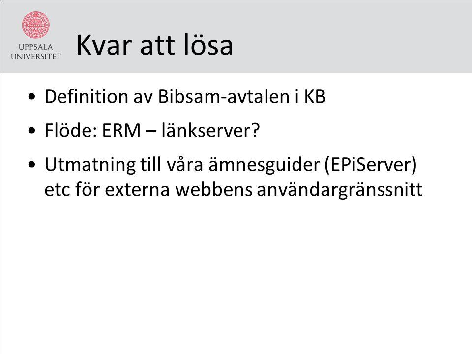 Kvar att lösa Definition av Bibsam-avtalen i KB Flöde: ERM – länkserver? Utmatning till våra ämnesguider (EPiServer) etc för externa webbens användarg