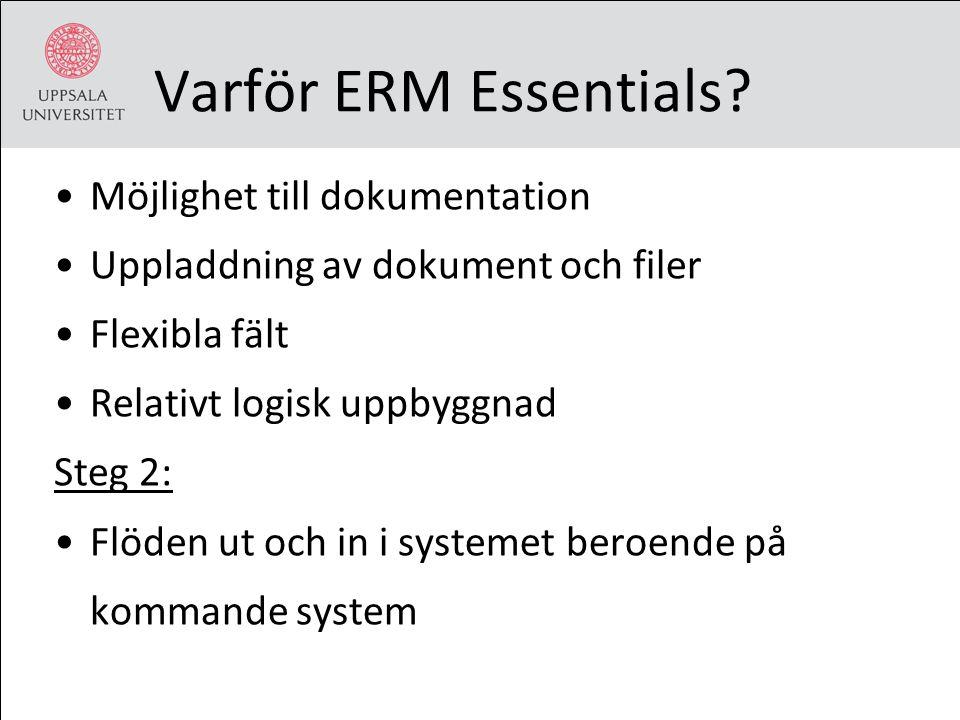 Varför ERM Essentials? Möjlighet till dokumentation Uppladdning av dokument och filer Flexibla fält Relativt logisk uppbyggnad Steg 2: Flöden ut och i