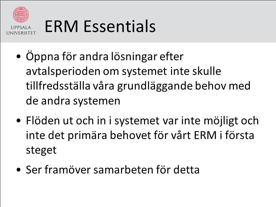 ERM Essentials Öppna för andra lösningar efter avtalsperioden om systemet inte skulle tillfredsställa våra grundläggande behov med de andra systemen F