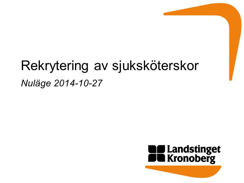 Rekrytering av sjuksköterskor Nuläge 2014-10-27