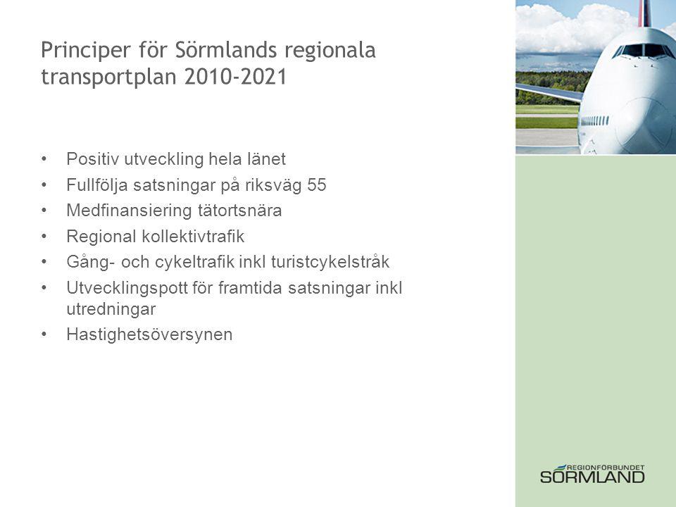 Principer för Sörmlands regionala transportplan 2010-2021 Positiv utveckling hela länet Fullfölja satsningar på riksväg 55 Medfinansiering tätortsnära Regional kollektivtrafik Gång- och cykeltrafik inkl turistcykelstråk Utvecklingspott för framtida satsningar inkl utredningar Hastighetsöversynen