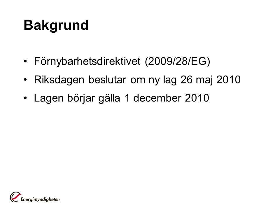 Bakgrund Förnybarhetsdirektivet (2009/28/EG) Riksdagen beslutar om ny lag 26 maj 2010 Lagen börjar gälla 1 december 2010