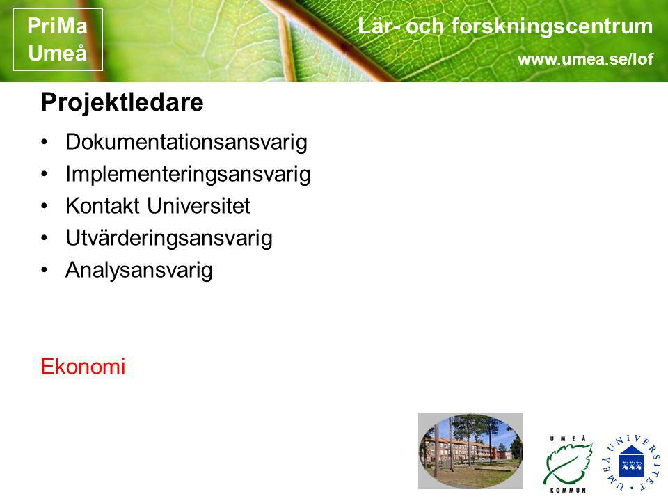 Lär- och forskningscentrum www.umea.se/lof PriMa Umeå Projektledare Dokumentationsansvarig Implementeringsansvarig Kontakt Universitet Utvärderingsans