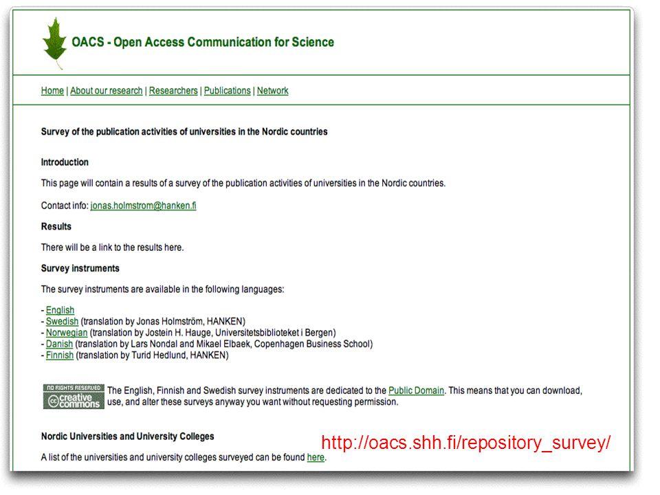 http://oacs.shh.fi 6 http://oacs.shh.fi/repository_survey/