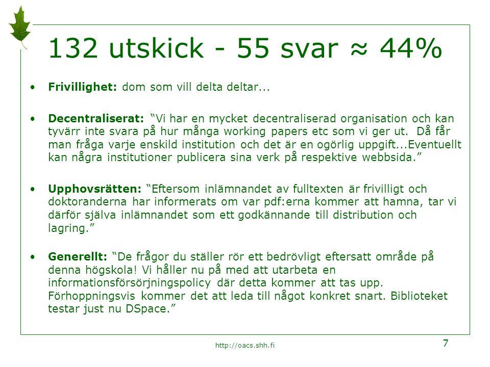 http://oacs.shh.fi 7 132 utskick - 55 svar ≈ 44% Frivillighet: dom som vill delta deltar...