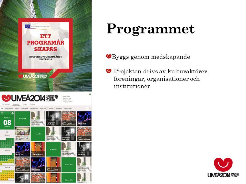 Byggs genom medskapande Projekten drivs av kulturaktörer, föreningar, organisationer och institutioner Programmet