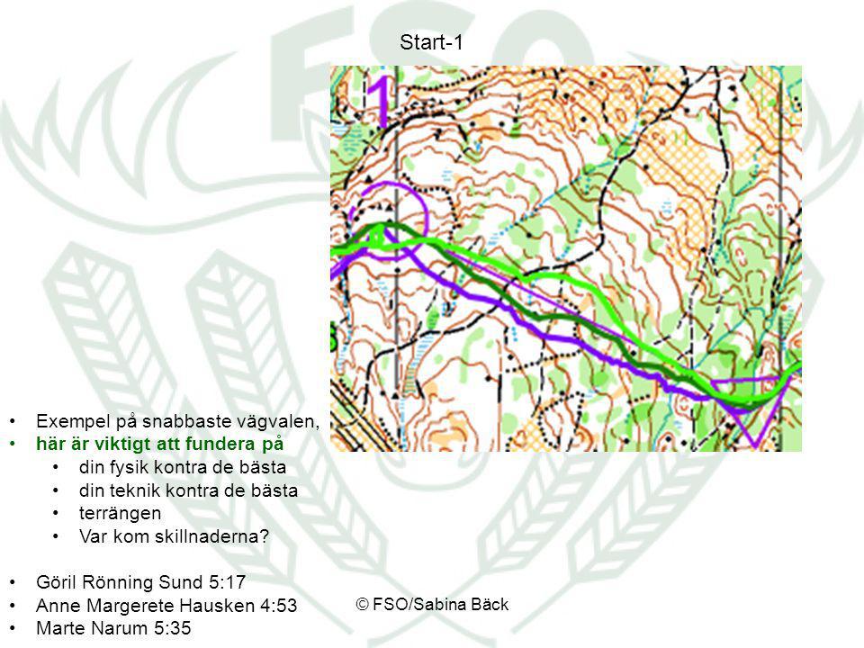 Start-1 Exempel på snabbaste vägvalen, här är viktigt att fundera på din fysik kontra de bästa din teknik kontra de bästa terrängen Var kom skillnader