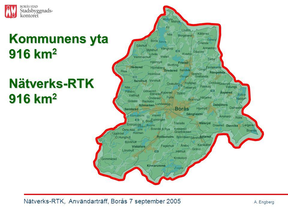 Abonnemangsavtal SWEPOS ® Nätverks-RTK-tjänst Kostnad (6): 75000 kr/år + GSM-kostn: 25000 kr/år Totalt: 100 000 kr/år Nätverks-RTK, Användarträff, Borås 7 september 2005 A.