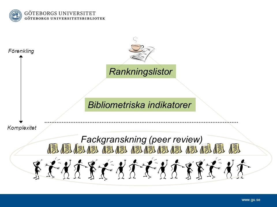 www.gu.se Komplexitet Förenkling Rankningslistor Fackgranskning (peer review) Bibliometriska indikatorer